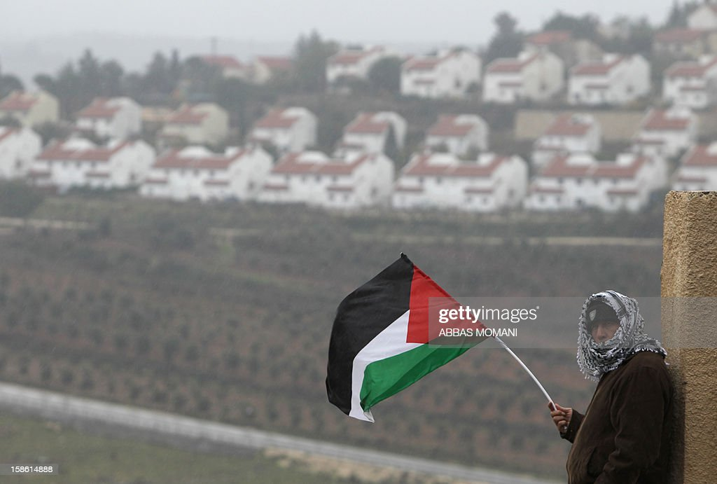 A Palestinian man waves his national flag on the sidelines of a march organized by inhabitants of the West Bank village Nabi Saleh on December 21, 2012, to protest against the expansion of Jewish settlements on Palestinian land. AFP PHOTO/ABBAS MOMANI
