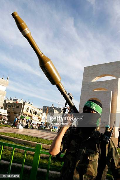 Palestinian militant from Izz alDin alQassam Brigades of Hamas during the marking of Nakba or the ''Day of Catastrophe'' in Rafah in the southern...