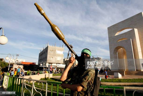 Palestinian militant from Izz alDin alQassam Brigadesof Hamas during the marking of Nakba or the ''Day of Catastrophe'' in Rafah in the southern Gaza...