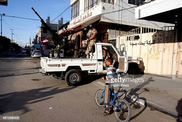 Palestinian militants from Izz alDin alQassam Brigades of Hamas during the marking of Nakba or the ''Day of Catastrophe'' in Rafah in the southern...