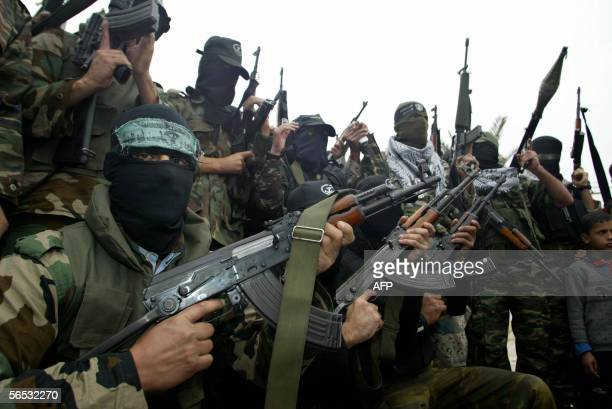 Palestinian militants representing the armed wings of Hamas Islamic Jihad and the Popular Resistance Committees as well as the AlAqsa Martyrs...