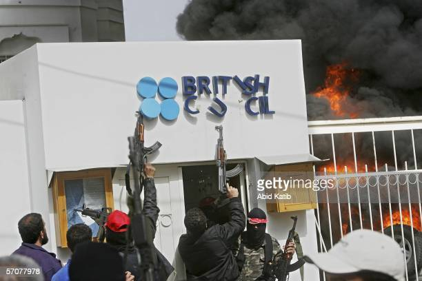 Palestinian militants set fire to the offices of the British council on March 14 2006 in Gaza City Gaza Strip Hundreds Palestinians stormed the...