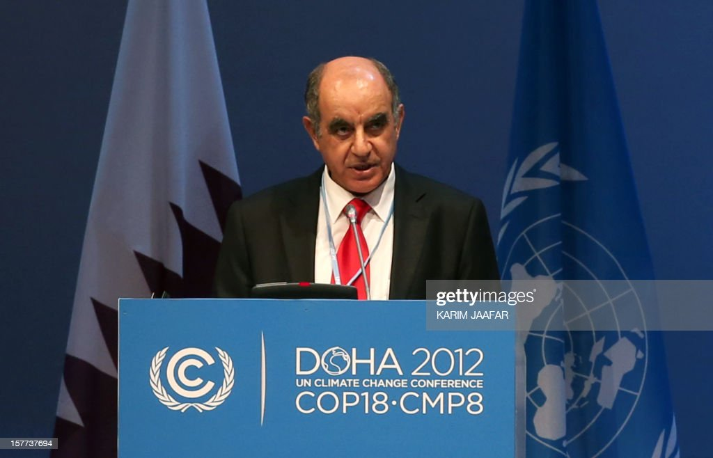 Palestinian Minister and chairman of the Environment Quality Yousef Abu Safieh, addresses delegates during the penultimate day of the United Nations Framework Convention on Climate Change (UNFCCC) in the Qatari capital Doha, on December 6, 2012. Negotiators from nearly 200 countries entered the penultimate day of UN climate talks in Doha divided on near-term finance for poor nations' global warming mitigation plans.