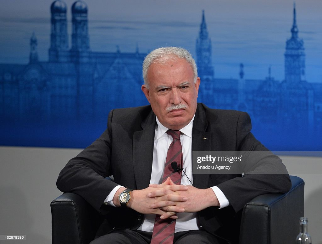 Palestinian Minister of Foreign Affairs Riad al-Maliki attends at the 51st Security Conference in Munich on February 08, 2015. The conference on security policy takes place from Feb. 6, 2015 until Feb. 8, 2015.