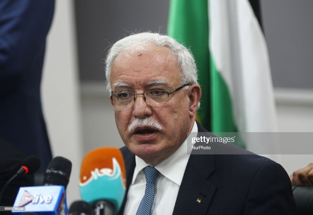Press conference of Palestinian minister of Foreign Affairs in Cairo