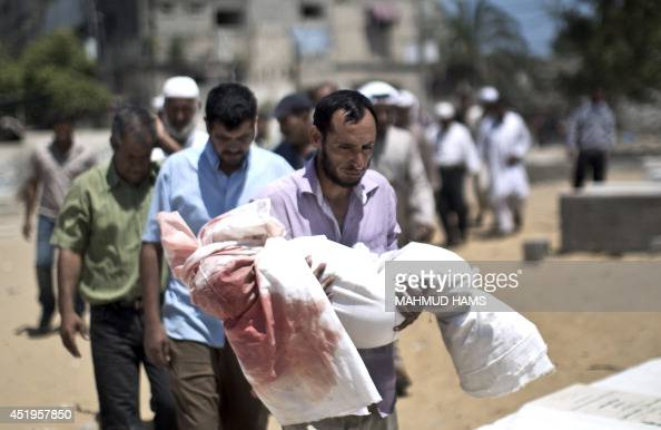 Palestinian mourners carry the body of fiveyearold boy Abdallah Abu Ghazal during his funeral in the northern Gaza town of Beit Lahiya on July 10...