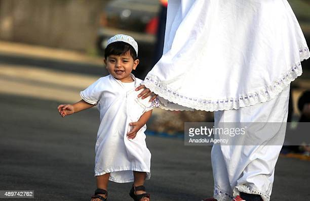 Palestinian muslims celebrate Eid alAdha at the AlBireh square in Ramallah on September 24 2015 Muslims around the world celebrate the Eid alAdha...