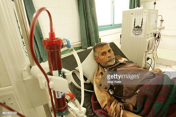 Palestinian patient Rabah Miqdad has kidney dialysis in the kidney department at the AlShifa hospital March 17 2008 in Gaza the Gaza Strip...