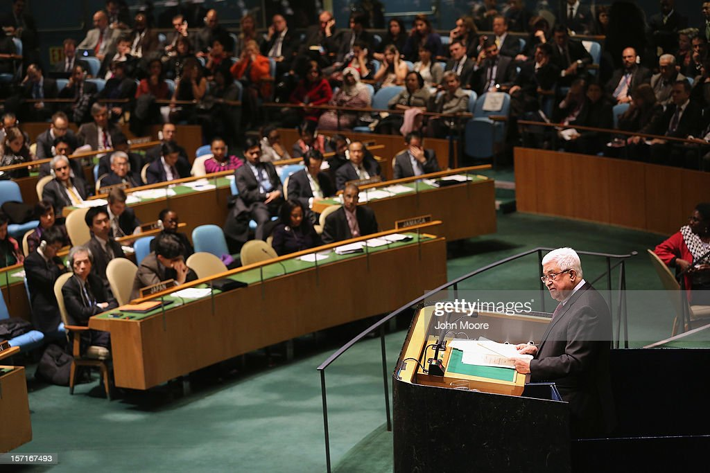 Palestinian President <a gi-track='captionPersonalityLinkClicked' href=/galleries/search?phrase=Mahmoud+Abbas&family=editorial&specificpeople=176534 ng-click='$event.stopPropagation()'>Mahmoud Abbas</a> addresses the U.N. General Assembly before a vote on Palestinian non-member observer status on November 29, 2012 in New York City. The resolution was approved by the 193-member body in a 138-9 vote, with 41 abstentions. The United States, Israel, Canada and a handful of others voted against today's historic resolution.