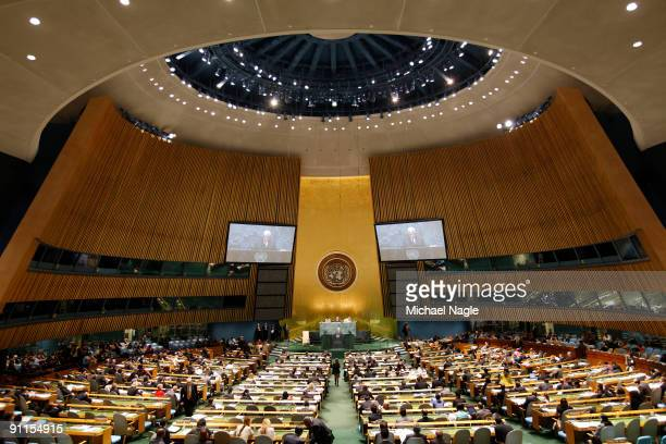 Palestinian President Mahmoud Abbas addresses the United Nations General Assembly at the UN headquarters on September 25 2009 in New York City The...