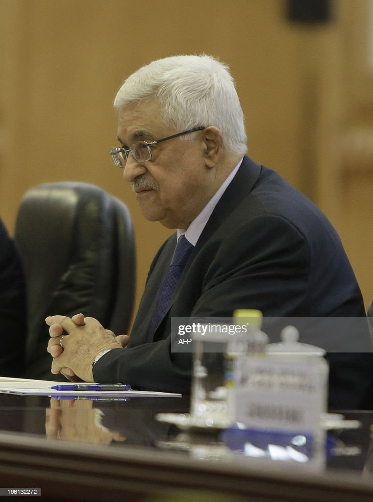 Palestinian President Mahmoud Abbas attends a meeting with his Chinese counterpart Xi Jinping (not pictured) at the Great Hall of the People in Beijing on May 6, 2013. Abbas will stay in China untill May 7, the state news agency Xinhua reported. AFP PHOTO / POOL/ Jason Lee