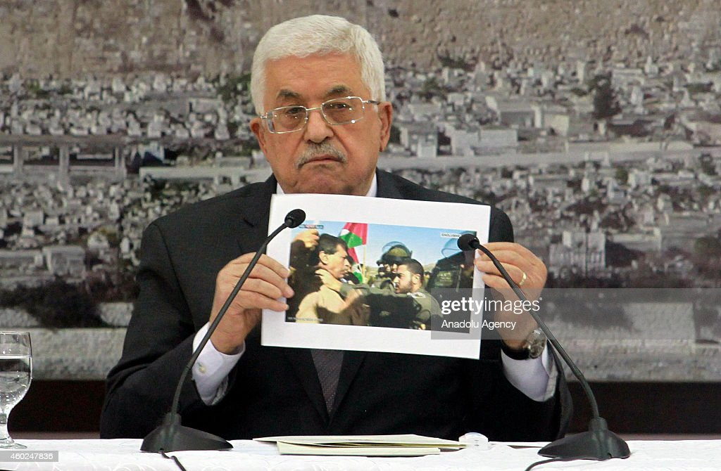Palestinian President <a gi-track='captionPersonalityLinkClicked' href=/galleries/search?phrase=Mahmoud+Abbas&family=editorial&specificpeople=176534 ng-click='$event.stopPropagation()'>Mahmoud Abbas</a> attends an extraordinary meeting with the members of the Palestine Liberation Organization (PLO) after the death of Palestinian official Ziad Abu Ein, died due to the tear gas which was fired by Israeli police during a demonstration, in Ramallah, West Bank on December 10, 2014.