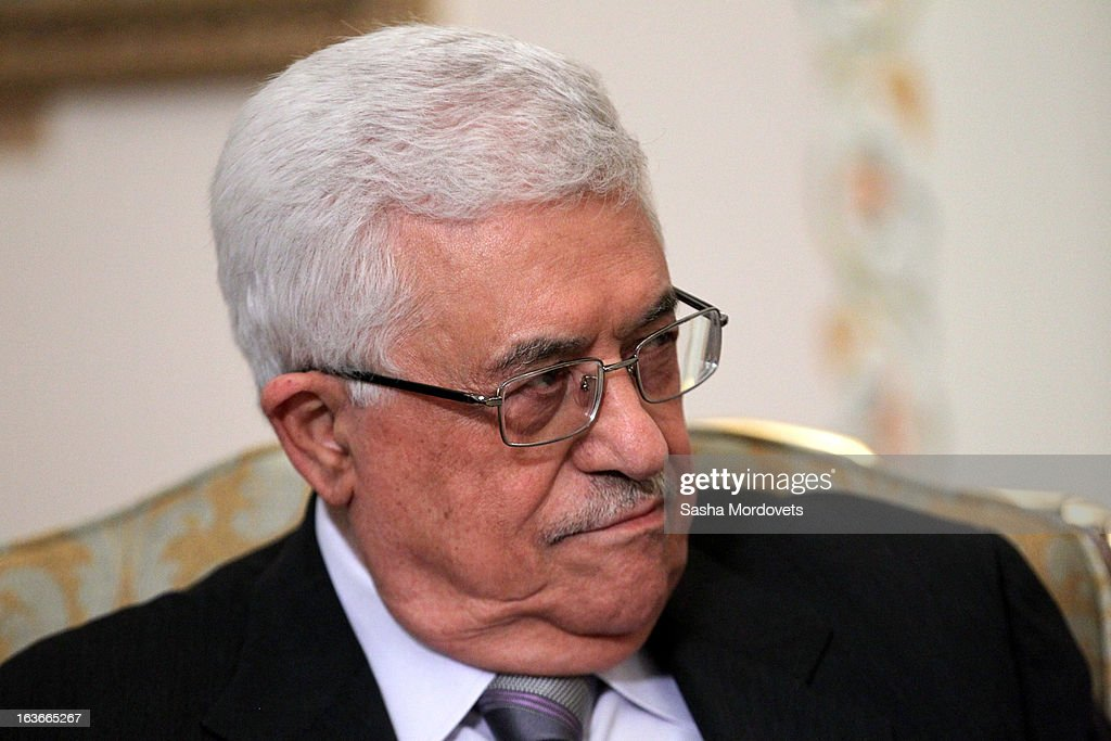 Palestinian President <a gi-track='captionPersonalityLinkClicked' href=/galleries/search?phrase=Mahmoud+Abbas&family=editorial&specificpeople=176534 ng-click='$event.stopPropagation()'>Mahmoud Abbas</a> during his meeting with Russian President Vladimir Putin during his visit to Russia on March 14, 2013 in Moscow, Russia. President Abbas will spend 2 days in Russia to discuss talks between Palestine and Israel and other international issues.