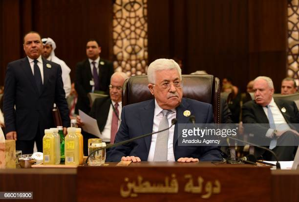 Palestinian President Mahmoud Abbas is seen during the Arab League summit at Sweimeh Resort in Dead Sea Region Jordan on March 29 2017