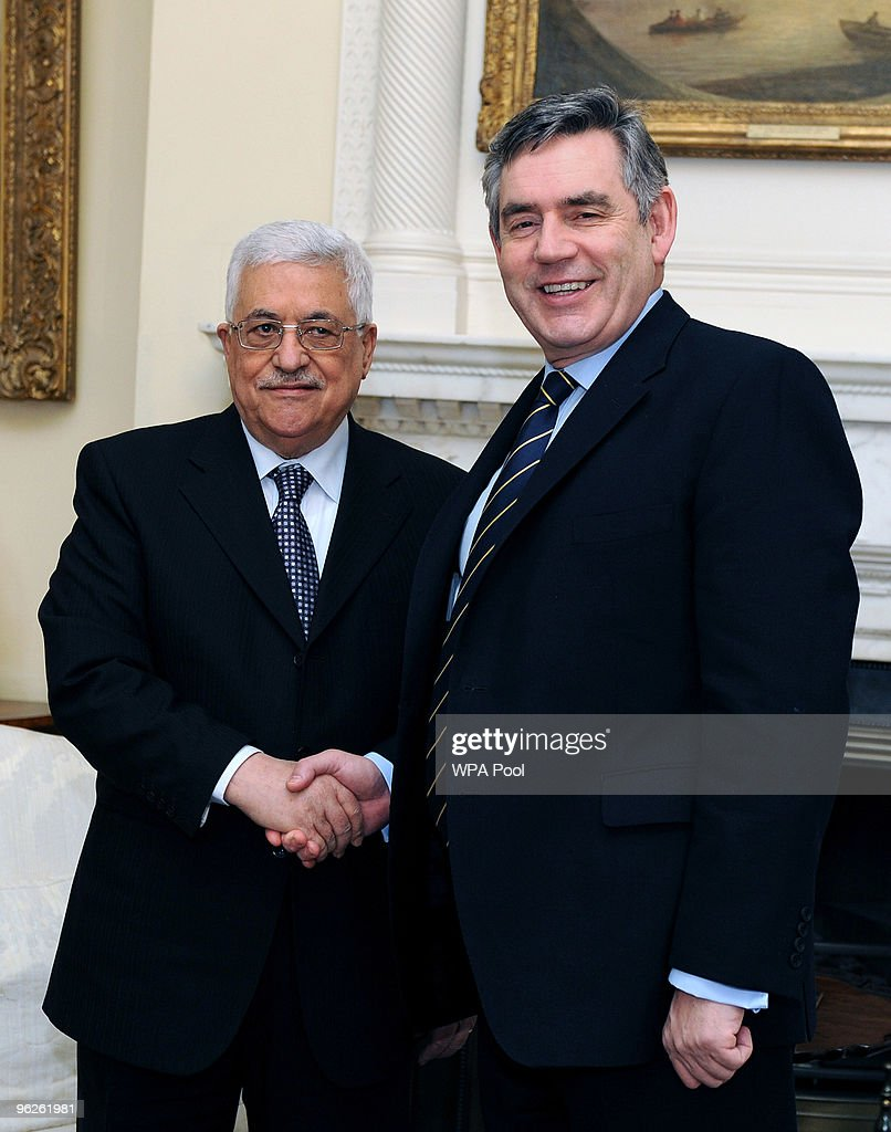 Palestinian President Mahmoud Abbas (L) is welcomed by British Prime Minister <a gi-track='captionPersonalityLinkClicked' href=/galleries/search?phrase=Gordon+Brown&family=editorial&specificpeople=158992 ng-click='$event.stopPropagation()'>Gordon Brown</a> at Number 10 Downing Street on January 29, 2010 in London, England. Abbas is visiting Europe where he will meet with the leaders of Britain, Germany and Russia, following his talks with US Special Envoy to the Middle East George Mitchell over the stalled Middle East peace talks.
