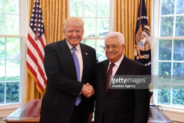Palestinian President Mahmoud Abbas meets US President Donald Trump at the White house in Washington United States on May 3 2017
