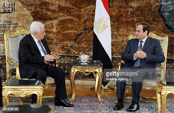Palestinian President Mahmoud Abbas meets with Egyptian President Abdel Fattah elSisi in Cairo Egypt on January 14 2015