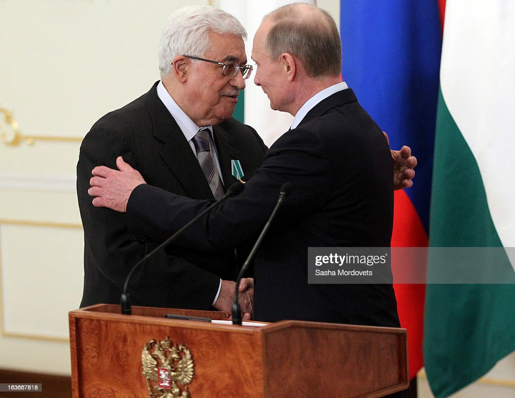 Palestinian President <a gi-track='captionPersonalityLinkClicked' href=/galleries/search?phrase=Mahmoud+Abbas&family=editorial&specificpeople=176534 ng-click='$event.stopPropagation()'>Mahmoud Abbas</a> (L) meets with Russian President <a gi-track='captionPersonalityLinkClicked' href=/galleries/search?phrase=Vladimir+Putin&family=editorial&specificpeople=154896 ng-click='$event.stopPropagation()'>Vladimir Putin</a> during his visit to Russia on March 14, 2013 in Moscow, Russia. President Abbas will spend 2 days in Russia to discuss talks between Palestine and Israel and other international issues.