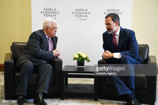 Palestinian President Mahmoud Abbas meets with Spain's King Felipe VI as they attend World Economic Forum regional meeting in Amman Jordan on May 20...