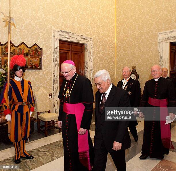 Palestinian President Mahmoud Abbas met Pope Benedict XVI in the pontiff's private library at the Vatican Italy on December 3 2005