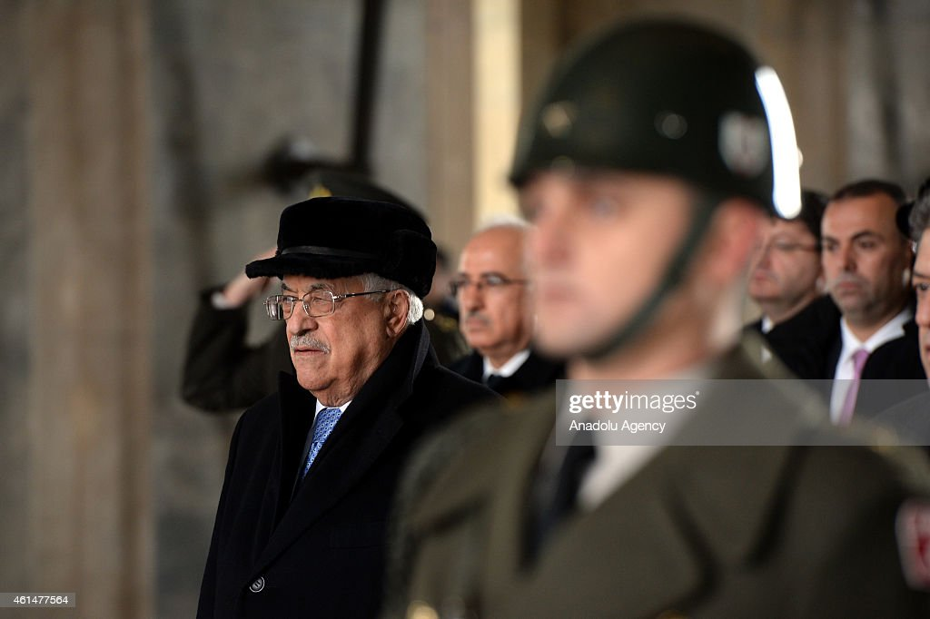Palestinian President <a gi-track='captionPersonalityLinkClicked' href=/galleries/search?phrase=Mahmoud+Abbas&family=editorial&specificpeople=176534 ng-click='$event.stopPropagation()'>Mahmoud Abbas</a> (L) stands in one minute's silence during his visit at Anitkabir, the mausoleum of Turkey's founder <a gi-track='captionPersonalityLinkClicked' href=/galleries/search?phrase=Mustafa+Kemal+Ataturk&family=editorial&specificpeople=107954 ng-click='$event.stopPropagation()'>Mustafa Kemal Ataturk</a> as a part of his official visit to Turkey on January 13, 2015 in Turkish capital Ankara.
