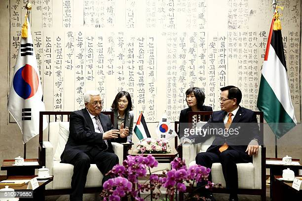 Palestinian President Mahmoud Abbas talks with South Korean National Assembly speaker Chung UiHwa prior their meeting at the National Assembly on...