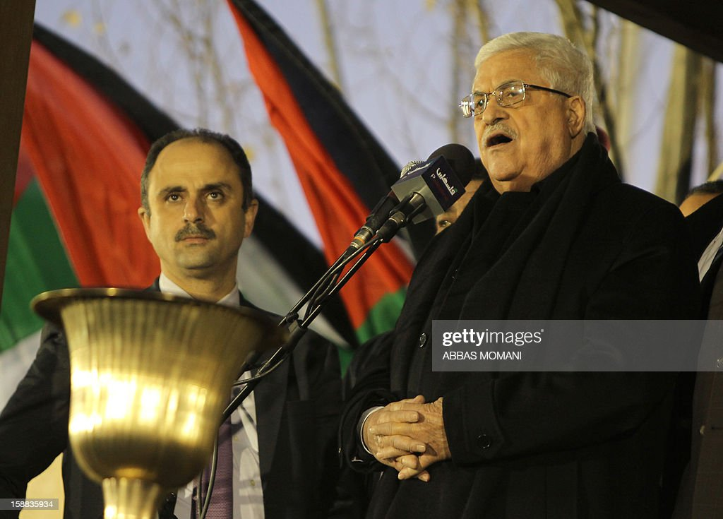 Palestinian President Mahmud Abbas addresses thousands of Palestinians on the eve of the 48th anniversary of the formation on the Fatah movement, on December 31, 2012, in the West Bank city of Ramallah. The Fatah anniversary commemorates the first operation against Israel claimed by its armed wing then known as Al-Assifa (The Thunderstorm in Arabic) on January 1, 1965.