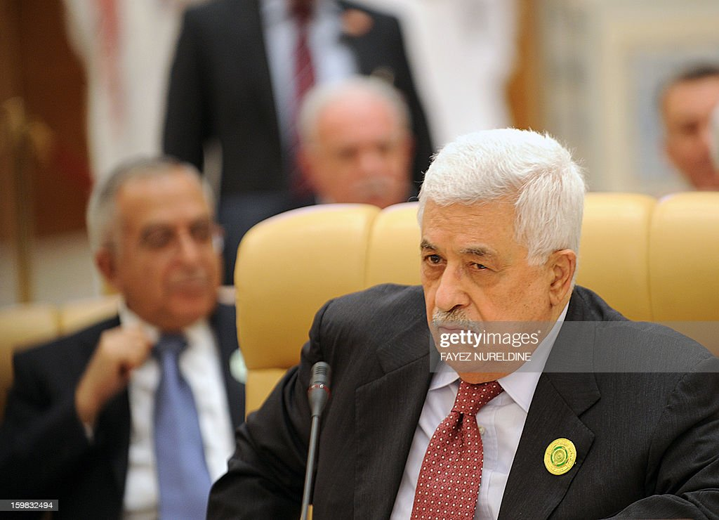 Palestinian President Mahmud Abbas attends the third Arab Economic, Social and Development Summit, on January 21, 2013 in Riyadh. Saudi Arabia is hosting the two day summit aimed at relaunching regional cooperation in the face of economic challenges which were at the root of the Arab Spring uprisings.