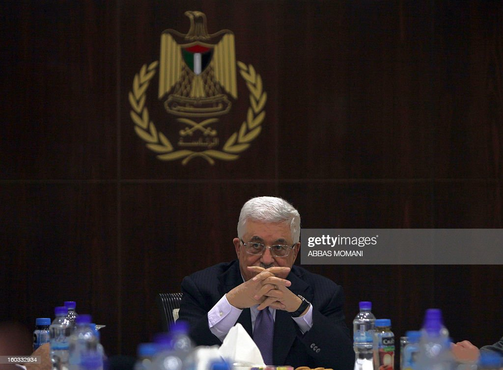 Palestinian president Mahmud Abbas chairs a meeting of the Executive Committee of the Palestine Liberation Organization (PLO) in the West Bank city of Ramallah, on January 29, 2013.