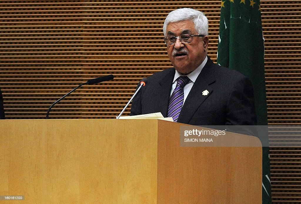 Palestinian President Mahmud Abbas delivers a speech at the 20th Ordinary Session of The Assembly of the Heads of State and Government (OSOA) of the African Union (UA) in Addis Ababa Ethiopia on January 27, 2013. African leaders are scheduled to discuss the conflict in Mali and seek to speed up the deployment of an African force there as well as discussing the political standoff between the Sudans.