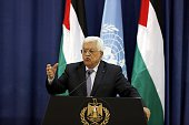 Palestinian president Mahmud Abbas holds a press conference with United Nations chief Ban Kimoon following a meeting at the Muqataa presidential...