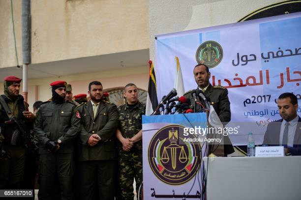 Palestinian President of the Court of Cassation Nasir Sulaiman delivers a speech during a press conference at courtmartial house after courtmartial...