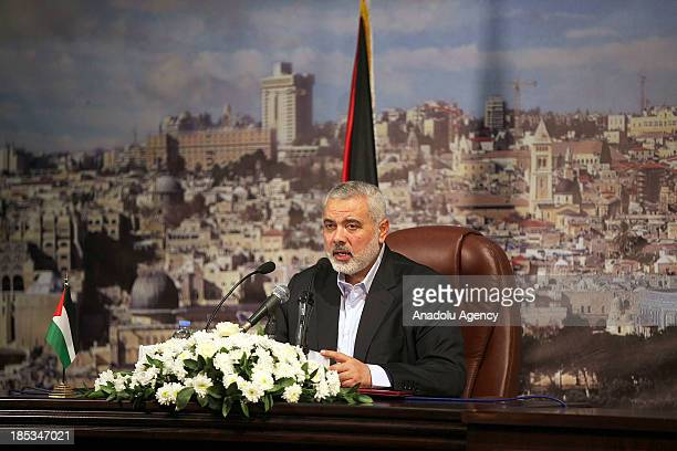 Palestinian Prime Minister Ismail Haniyeh speaks during a press conference in Gaza on October 19 2013
