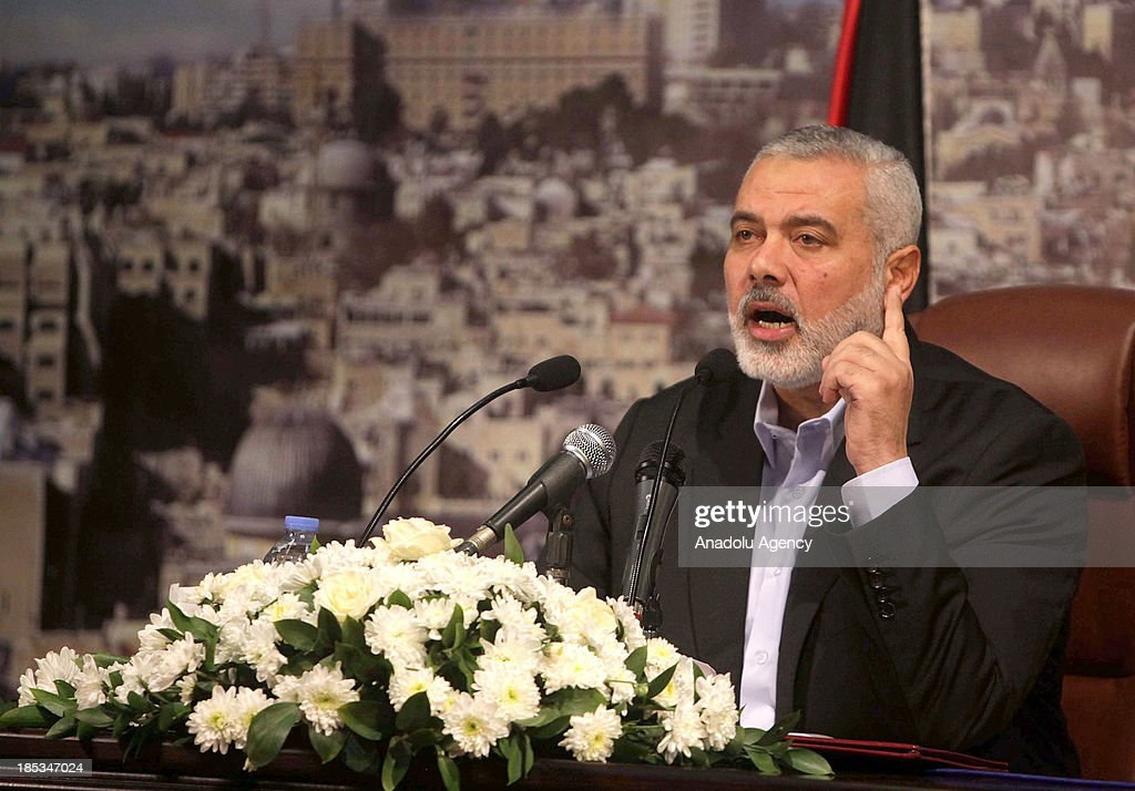 Palestinian Prime Minister <a gi-track='captionPersonalityLinkClicked' href=/galleries/search?phrase=Ismail+Haniyeh&family=editorial&specificpeople=543410 ng-click='$event.stopPropagation()'>Ismail Haniyeh</a> speaks during a press conference on October 19, 2013 in Gaza City, Gaza.