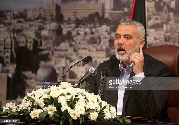 Palestinian Prime Minister Ismail Haniyeh speaks during a press conference on October 19 2013 in Gaza City Gaza