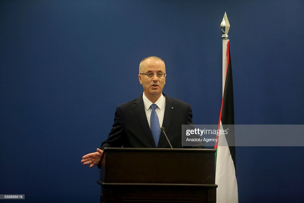 Palestinian Prime Minister Rami Hamdallah and French Prime Minister Manuel Valls (not seen) hold a joint press conference after their meeting at Prime Minister's Residence in Ramallah, West Bank on May 24, 2016.