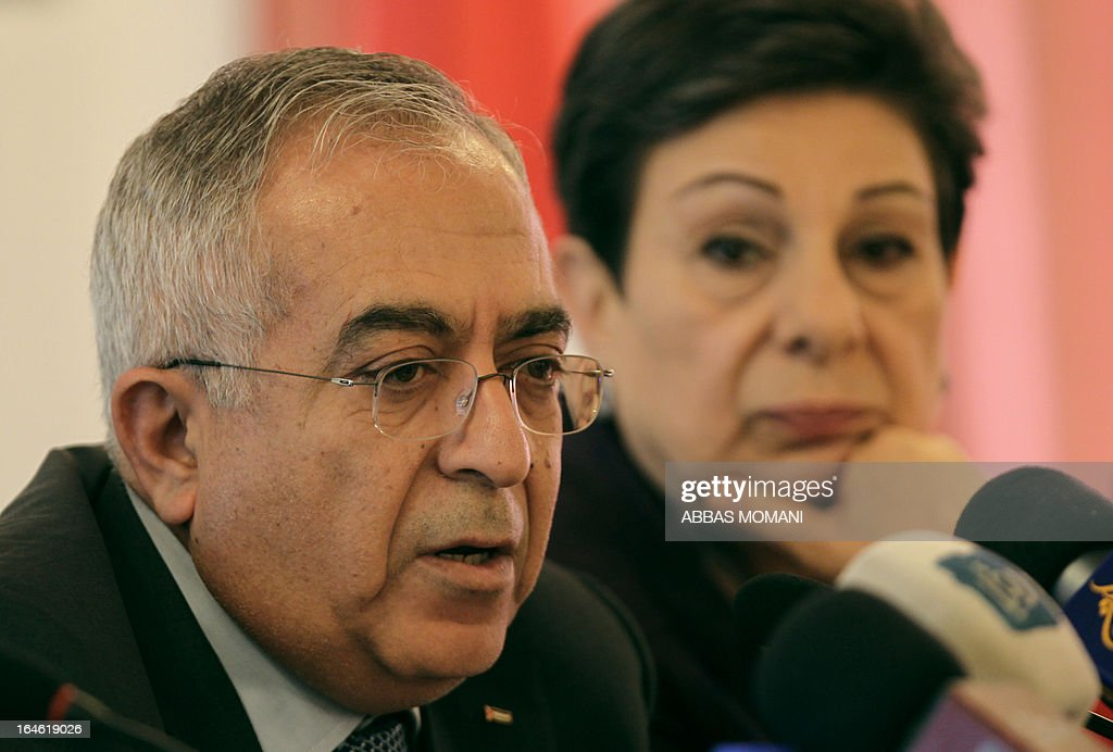 Palestinian prime minister Salam Fayyad gives a press conference about the financial budget for the year 2013, in the West Bank city of Ramallah on March 25, 2013 after Israel announced it is to resume the transfer of revenues it collects on behalf of the Palestinian Authority, frozen last year in retaliation for the Palestinians winning upgraded UN status. Israel in early December announced it would not transfer tax and tariff funds it collects for the severely cash-strapped Palestinians, in response to their successful UN campaign which the Jewish state had fiercely opposed.