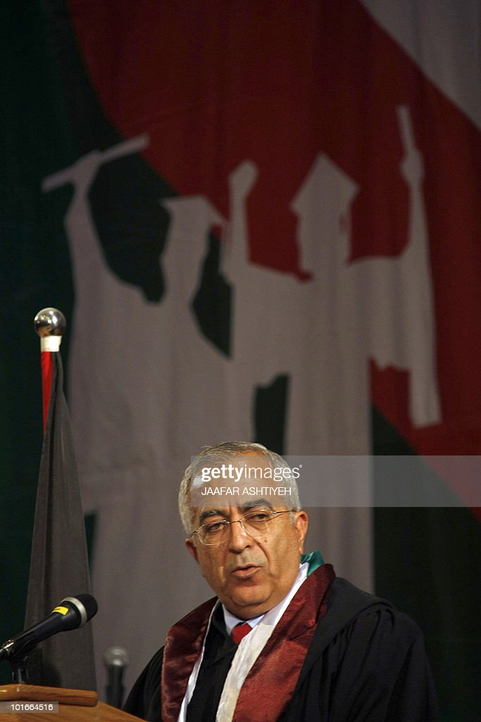 Palestinian Prime Minister Salam Fayyad speaks at the Al-Najah University in the West Bank town of Nablus on June 6, 2010, during a visit to open the largest academic library in the Israeli occupied Palestinian West Bank.