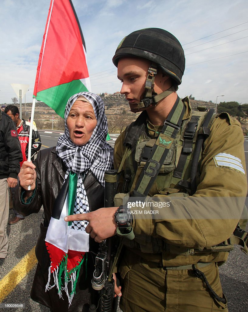 A Palestinian protester talks with an Israeli soldier during a protest against planting trees by Israeli settlers in Palestinian land on the main road 60 between the West Bank cities of Bethlehem and Hebron near the Israeli settlement of Daniel on January 25, 2013.