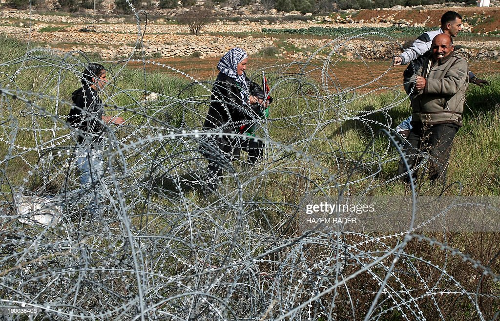 Palestinian protesters along with Israeli and foreign peace activists try to remove a barbed wire fence during a protest demanding to reopen one of the main entrances to the West Bank city of Hebron which is closed by Israeli troops due to its proximity to the Jewish settlement of Beit Hagay on January 25, 2013.