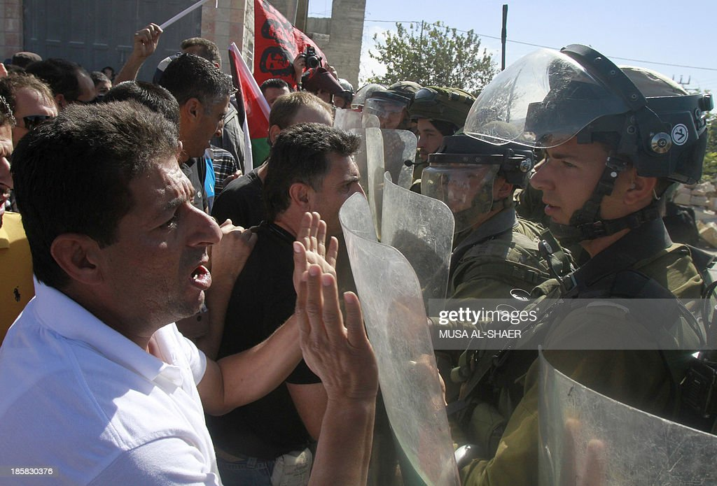Palestinian protesters argue with Israeli soldiers as they take part in a weekly demonstration against the Israeli separation barrier and the expansion of Jewish settlements in the West Bank village of Maasarah, near Bethlehem, on October 25, 2013.