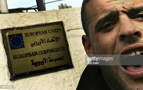 Palestinian shouts anti Danish and Norwegian slogans during a protest in front of the European Union headquarters January 30 2006 in Gaza City Gaza...