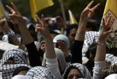 Palestinian students supporters of the ruling Palestinian Fatah party attend a preelection rally for the student council at Birzeit University on the...
