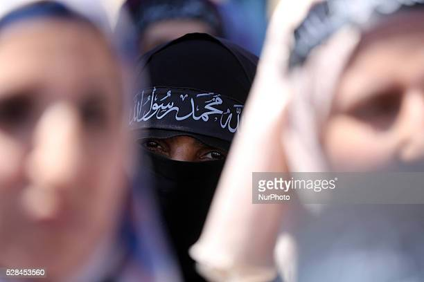Palestinian supporters of Hizb utTahrir take part in a rally to mark the 95rd anniversary of the overthrow of the Islamic Caliphate in Gaza city on...