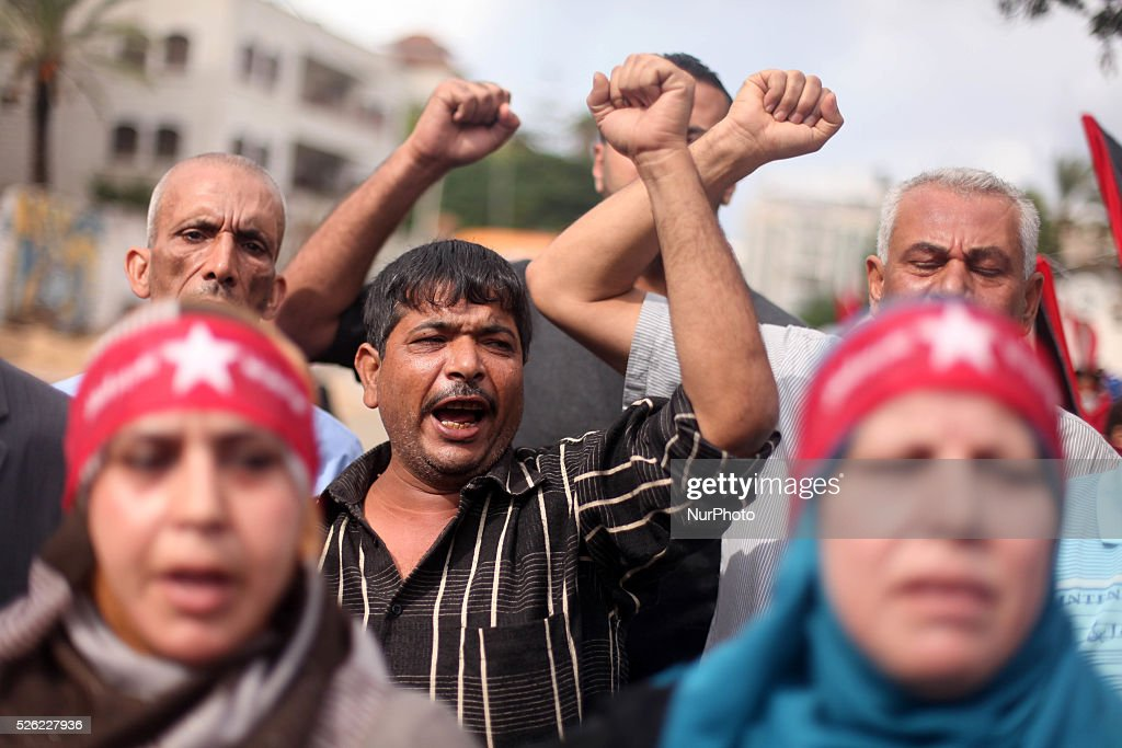 Palestinian supporters of the Democratic Front for the Liberation of Palestine chant slogans during an antiIsrael protest in Gaza City on October 27...