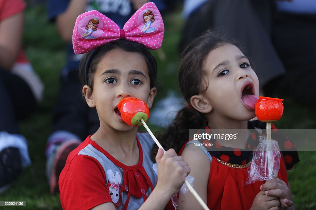 Palestinian supporters of the Islamist movement Hamas take part during an anti-Israel rally in Gaza City, on April 28, 2016.