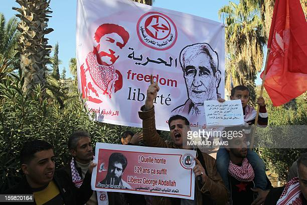 Palestinian supporters of the Popular Front for the Liberation of Palestine take part in a protest outside the French Cultural Center calling for the...