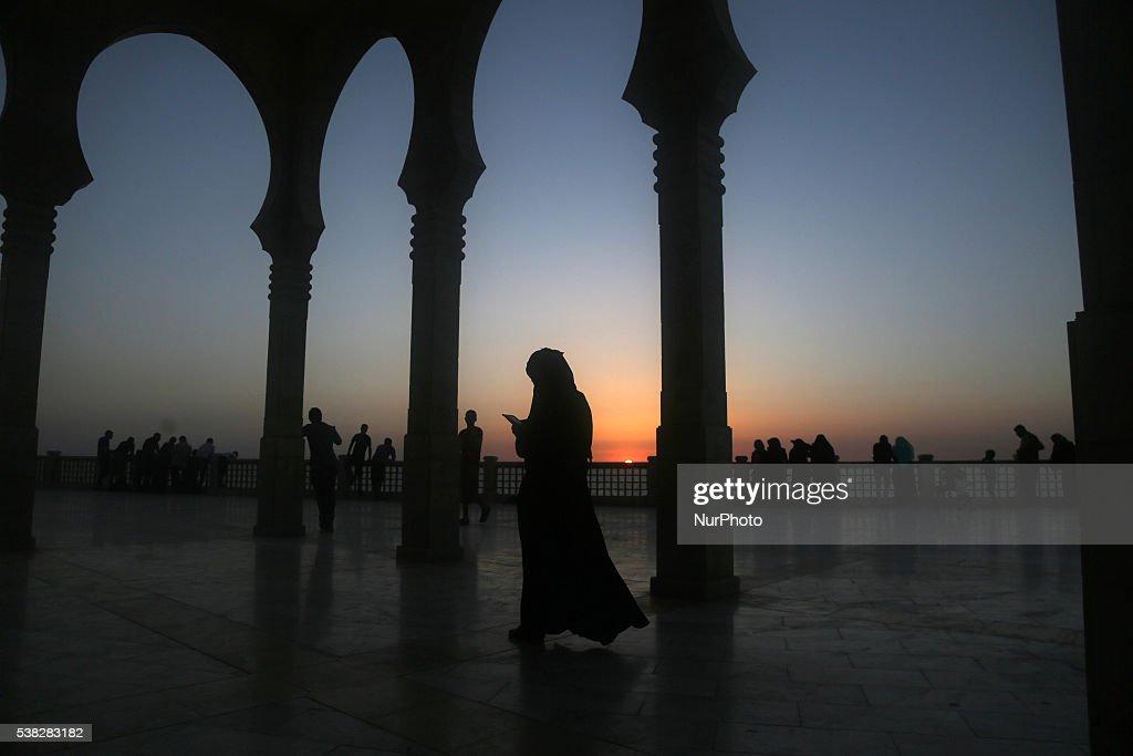 Palestinian walks Al Khalde mosque during sunset in the west of Jabaliya during the Muslim holy month Ramadan in the Gaza town of Jabaliya on June 5...