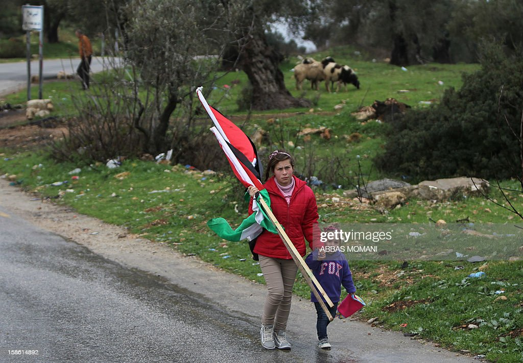 A Palestinian woman carries national flags as she walks on a road with a child on the sidelines of a march organized by inhabitants of the West Bank village Nabi Saleh on December 21, 2012, to protest against the expansion of Jewish settlements on Palestinian land. AFP PHOTO/ABBAS MOMANI