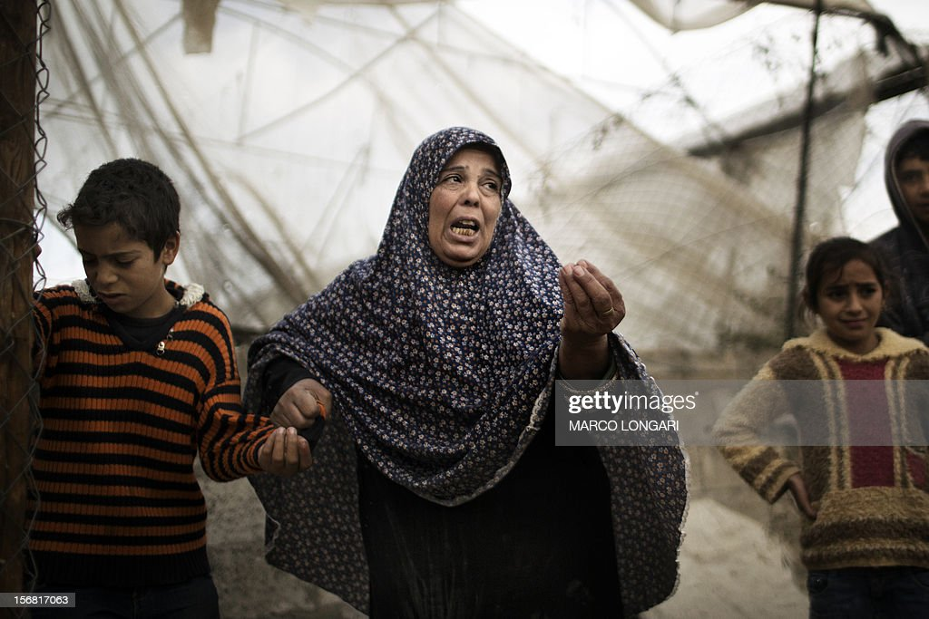 A Palestinian woman grieves in front of a green house where her farmer husband was killed hours before the end of the hostilities in the al-Atatra area in the northern Gaza Strip November 22, 2012. A ceasefire took hold in and around Gaza after a week of cross-border violence between Israel and Palestinian militants that killed at least 160 people.